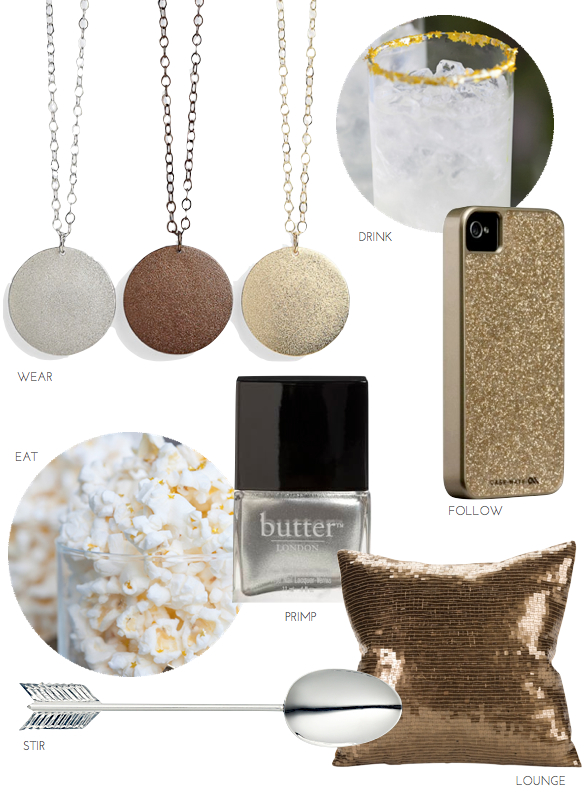 nordstrom gold pendants, gold glitter iPhone case, edible gold cocktail, edible gold popcorn, silver nail polish butter, arrow spoon