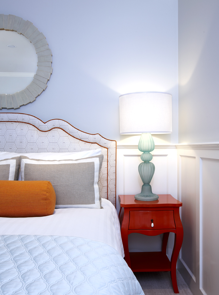 orange and blue guest room, jamie young, made goods, Edward Ferrell Lewis Mitman, Pulp Design Studios