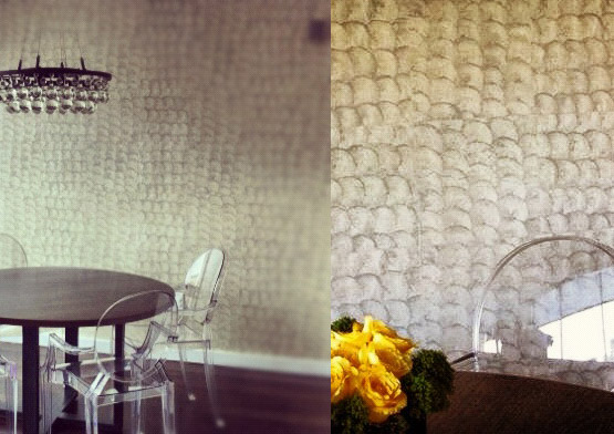 Elitis, Wallcovering, Mother of Pearl Wallcovering, Glass Ball Chandelier