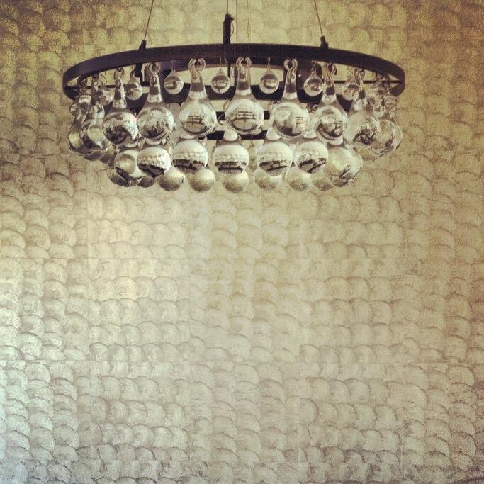 Elitis, Wallcovering, Lapis Shell Wallcovering, Glass Ball Chandelier