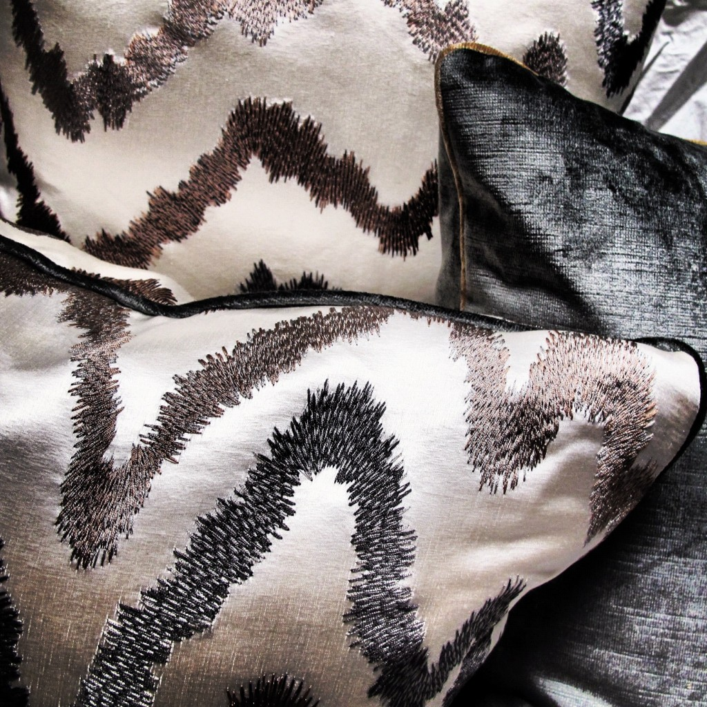 modern silk pillows, modern velvet pillows, metallic pillow collection, pulp custom pillow
