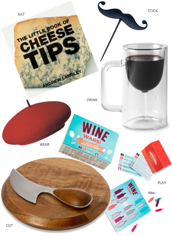 Wine glasses, Beer Wine Glass, Wooden Cutting Board, Wine Wars Game, Cheese Tip Books , Berets
