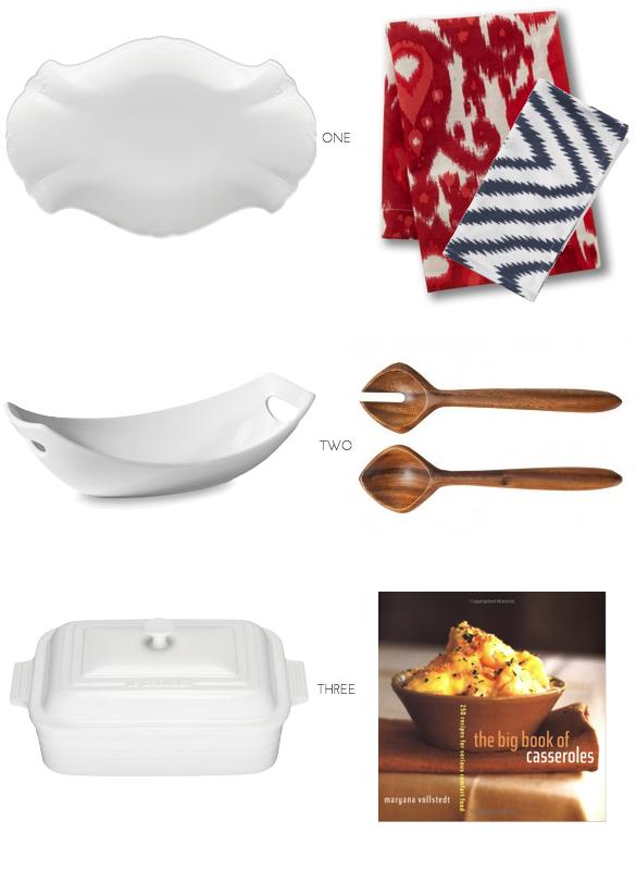 Wooden Serving Spoons, Wooden Salad Servers, White Serving Ware, Casserole Cookbook, Ikat Napkins, Modern Cloth Napkins