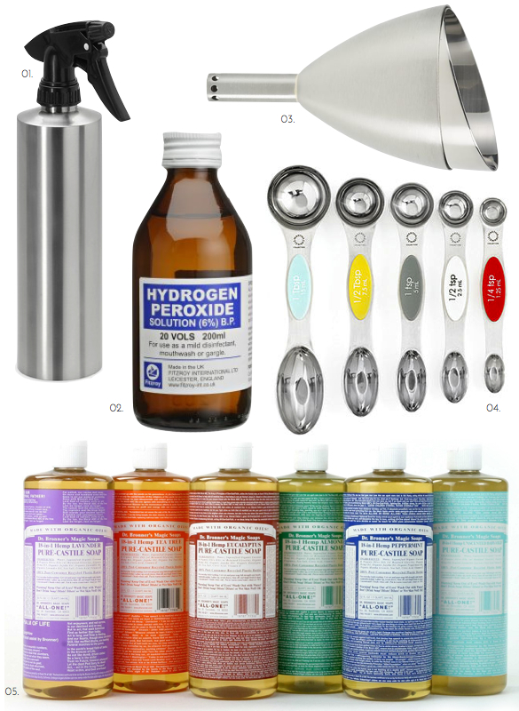 All Modern Spray Bottle, Stainless Funnel, Dr. Bronner's Castile Soap, Castile Soap, Martha Stewart Magnetic Measuring Spoons, Colorful Measuring Spoons, Homemade Green Cleaner, DIY Home Cleaner,