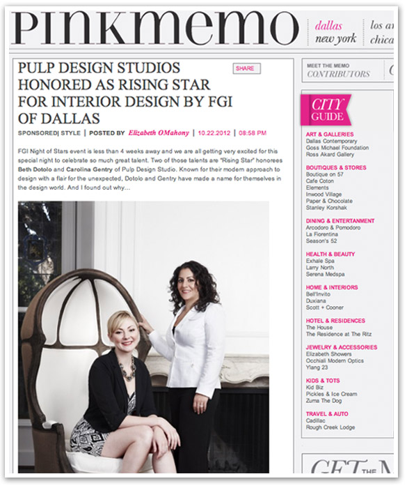 PINK MEMO, elizabeth o'mahoney, interior design award, interview with interior designer, pulp design studios, beth dotolo, carolina gentry