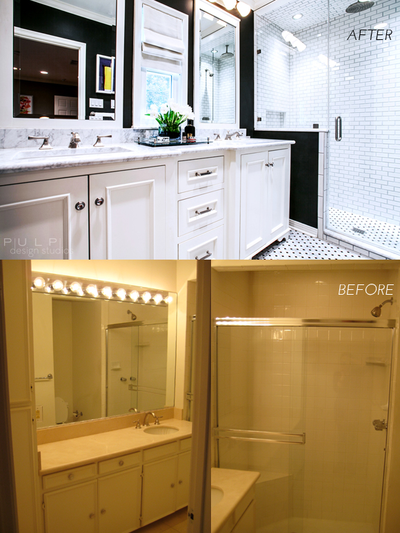 Before and after hip menagerie master bath remodel pulp for Bath remodel before and after pictures