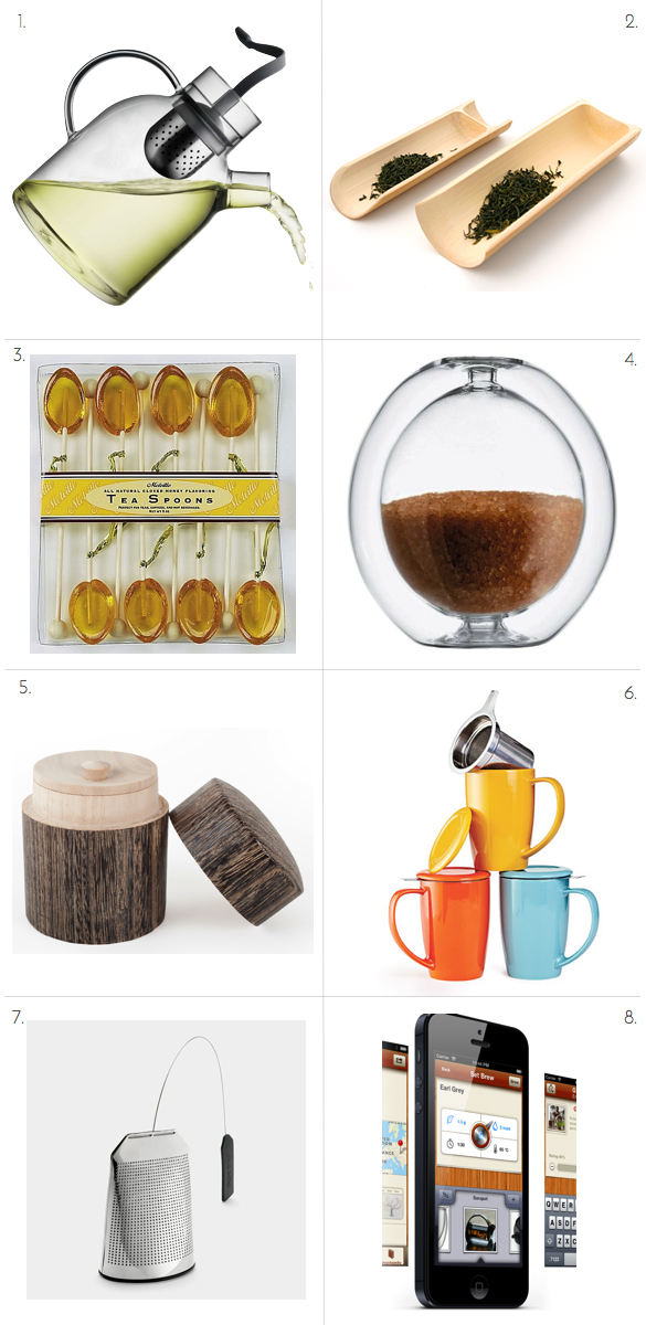 Hot Tea, Iced Tea, Carolina Gentry, Caroline Gentry, Beth Dotolo, Beth Detolo, Tea Time Application, Moder Tea Sets, Tea mug with infuser, tea scoops, Bamboo tea scoops, clover honey tea spoons, tea canister, bamboo tea canister, MOMA tea, modern sugar dispenser
